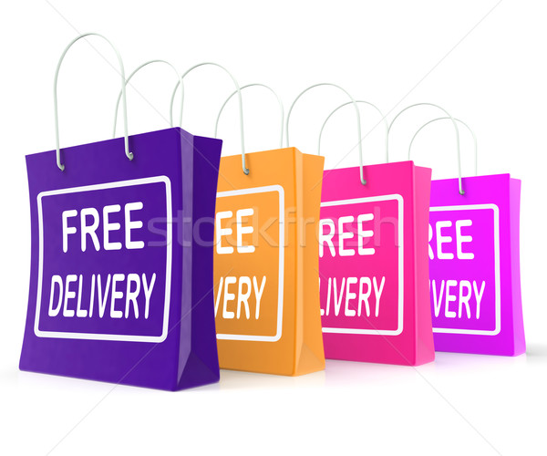 Free Delivery Shopping Bags Showing No Charge Or Gratis To Deliv Stock photo © stuartmiles