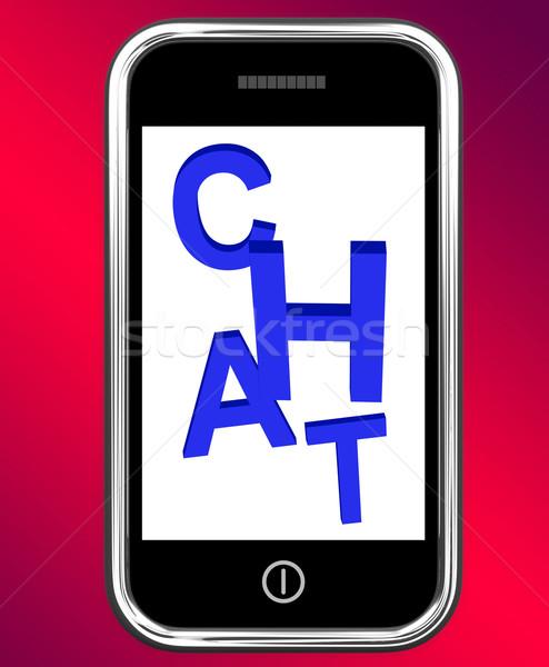 Chat telefoon praten typen tonen Stockfoto © stuartmiles