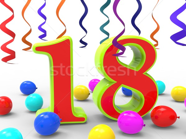 Number Eighteen Party Shows Teenager Birthday Party Or Celebrati Stock photo © stuartmiles