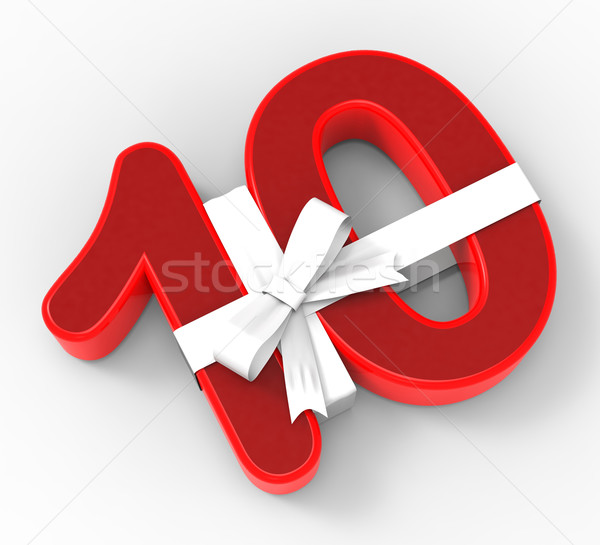 Number Ten With Ribbon Means Tenth Birthday Presents Or Party Stock photo © stuartmiles