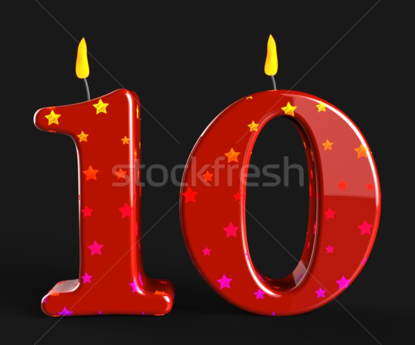 Number Ten Candles Mean Numeral Candles Or Celebration Candles Stock photo © stuartmiles