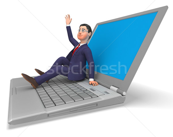 Businessman On Laptop Indicates World Wide Web And Biz Stock photo © stuartmiles