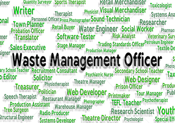Waste Management Officer Shows Manager Words And Bosses Stock photo © stuartmiles