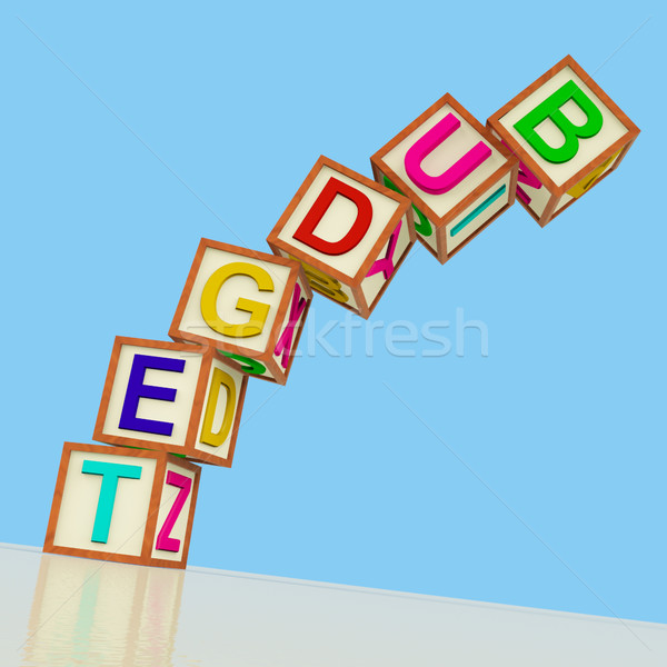 Blocks Spelling Budget Falling Over As Symbol for Spending And B Stock photo © stuartmiles