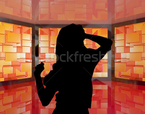 Modieus meisje dansen silhouet tonen energiek Stockfoto © stuartmiles