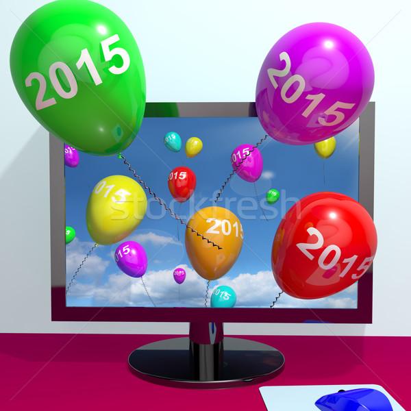 2015 ballonnen computer jaar twee duizend Stockfoto © stuartmiles