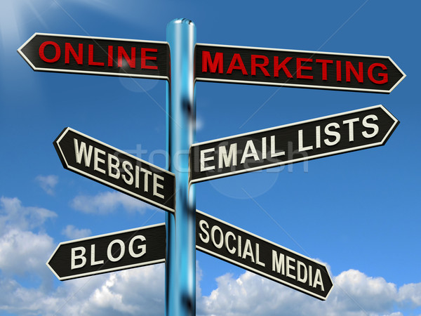 Online Marketing Signpost Showing Blogs Websites Social Media An Stock photo © stuartmiles