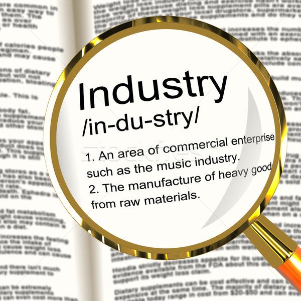 Stockfoto: Industrie · definitie · vergrootglas · tonen · engineering · bouw
