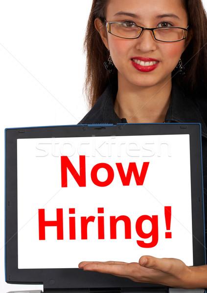 Now Hiring Computer Message Shows Online Jobs Stock photo © stuartmiles