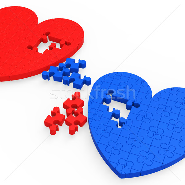 Two 3D Hearts Showing Love Partners Stock photo © stuartmiles