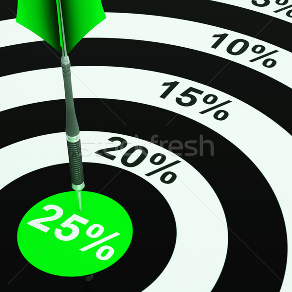 25 Percent On Dartboard Showing Won Reductions Stock photo © stuartmiles