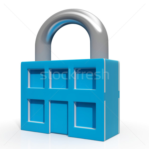 Padlock And House Showing Building Security Stock photo © stuartmiles