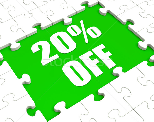 Twenty Percent Off Puzzle Means Discounted Or Sale 20% Stock photo © stuartmiles