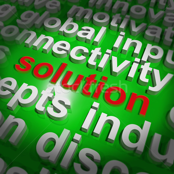 Solution Word Cloud Shows Achievement Resolution Solving And Sol Stock photo © stuartmiles