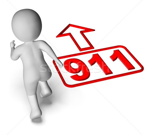 Running Character And 911 Nine One Shows Emergency Help Rescue Stock photo © stuartmiles