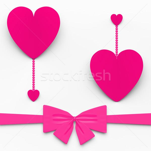 Kettő szívek íj előadás dekoratív édes Stock fotó © stuartmiles