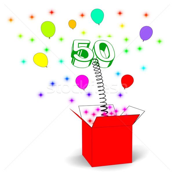 Szám ötven meglepetés doboz születésnap születés Stock fotó © stuartmiles