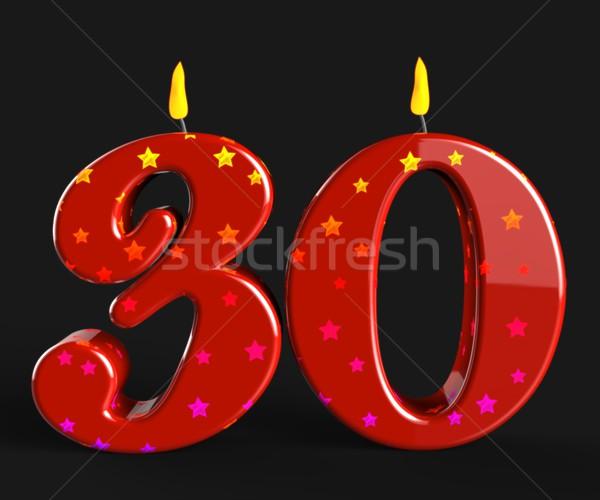 Aantal dertig kaarsen Rood cake Stockfoto © stuartmiles