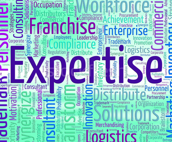 Expertise Word Represents Educated Wordclouds And Specialist Stock photo © stuartmiles