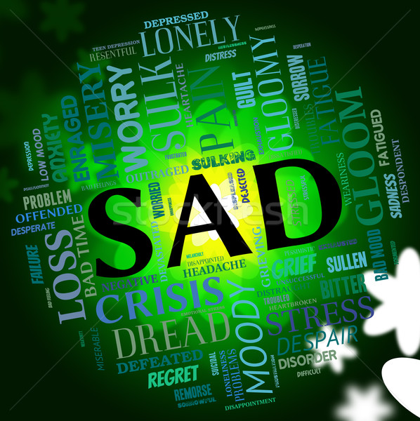 Sad Word Indicates Grief Stricken And Dejected Stock photo © stuartmiles