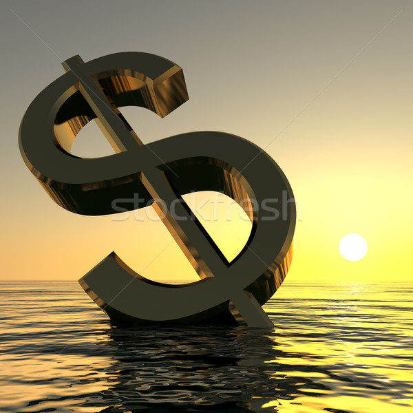Dollar Sinking And Sunset Showing Depression Recession And Econo Stock photo © stuartmiles