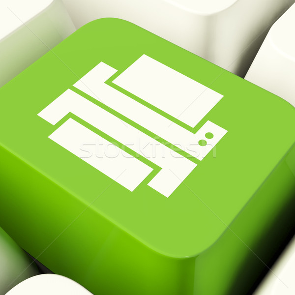 Print Computer Key In Green Showing Access To A Hard Copy Stock photo © stuartmiles