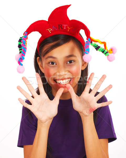Laughing Girl With A Joker Hat Stock photo © stuartmiles