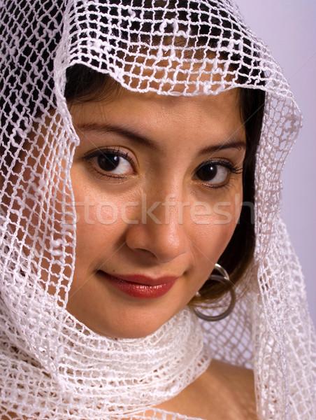 Kisebbségi nő fejkendő visel fátyol menyasszony Stock fotó © stuartmiles