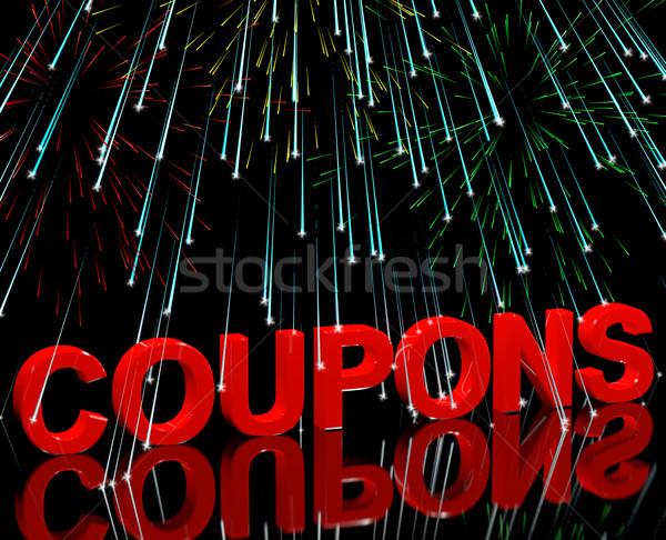Cupones palabra fuegos artificiales celebración precio Foto stock © stuartmiles