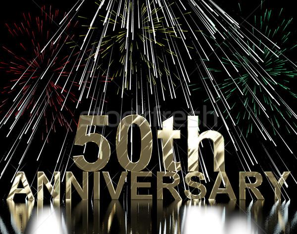 Złota rocznicy fajerwerków uroczystości strony Zdjęcia stock © stuartmiles