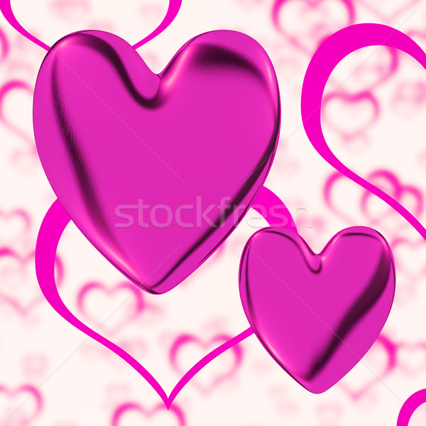 Mauve Hearts On A Heart Background Showing Love Romance And Roma Stock photo © stuartmiles