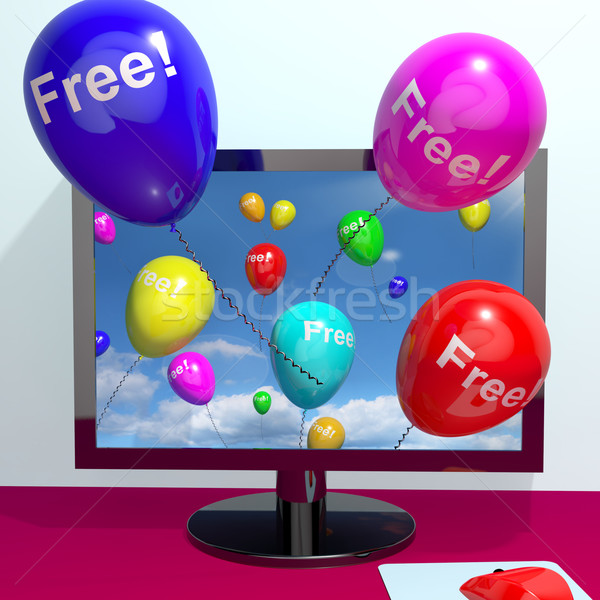 Balloons With Free Coming Through Computer  Showing Freebies and Stock photo © stuartmiles