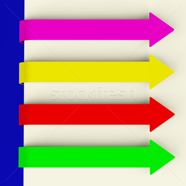 Four Multicolored Long Arrow Tabs Over Paper For Menu List Or No Stock photo © stuartmiles