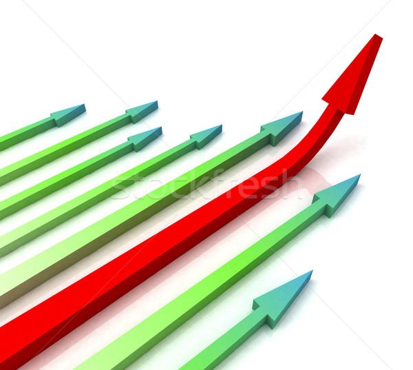 Kırmızı doğru ok önde büyüme Stok fotoğraf © stuartmiles