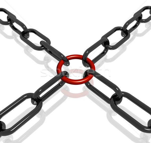 Rood link keten sterkte veiligheid tonen Stockfoto © stuartmiles