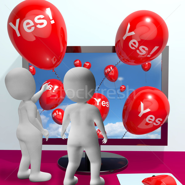 Yes Balloons From Computer Showing Approval And Support Message Stock photo © stuartmiles