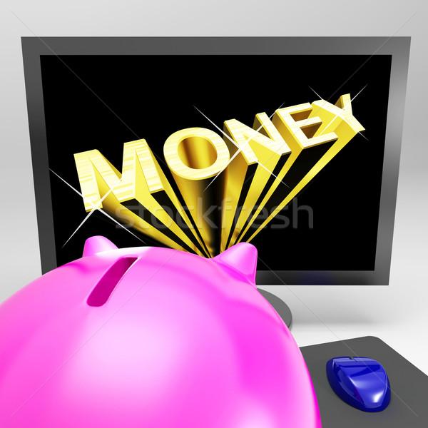 Money Screen Shows Finance Wealth And Prosperity Stock photo © stuartmiles