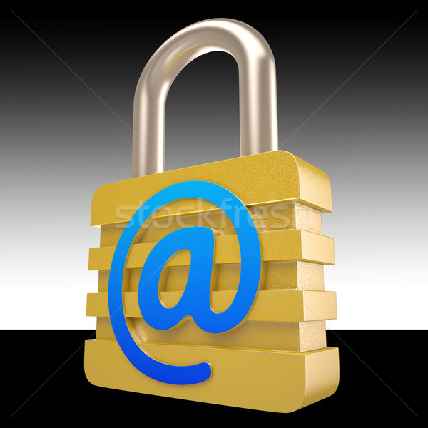 At Sign Padlock Shows Private Mail Secured Stock photo © stuartmiles