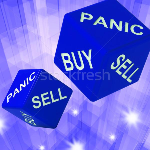 Panic, Buy, Sell Dice Background Showing International Transacti Stock photo © stuartmiles