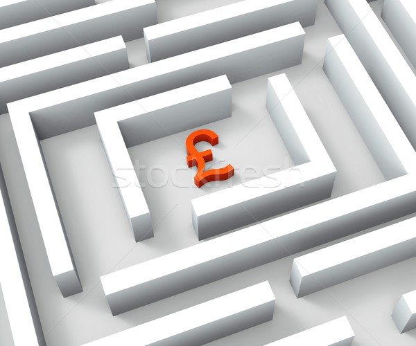 Pound Sign In Maze Shows Finding Pounds Stock photo © stuartmiles
