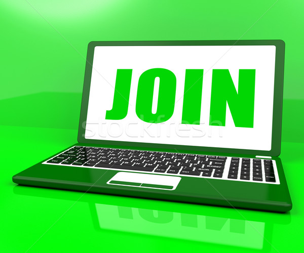 Join On Laptop Shows Register Membership Or Volunteer Online Stock photo © stuartmiles