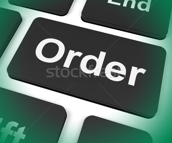 Order Key Shows Buying Online In Web Stores Stock photo © stuartmiles