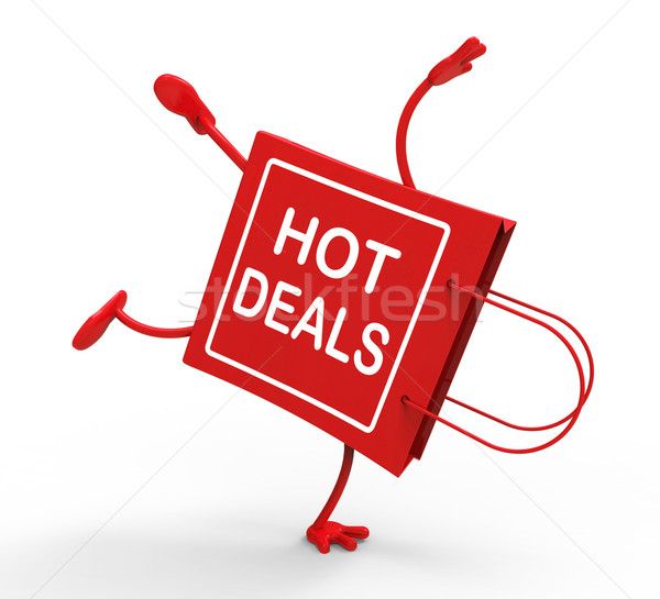 Hot Deals On Handstand Shopping Bag Shows Bargains Sale And Save Stock photo © stuartmiles