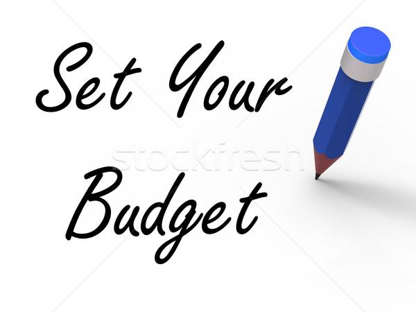 Ingesteld budget potlood schrijven financiële doelen Stockfoto © stuartmiles