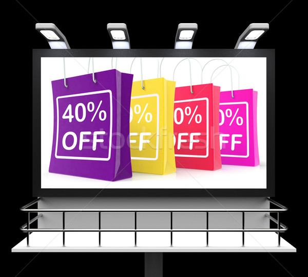 Forty Percent Off Shopping Bags Shows Reduction Stock photo © stuartmiles