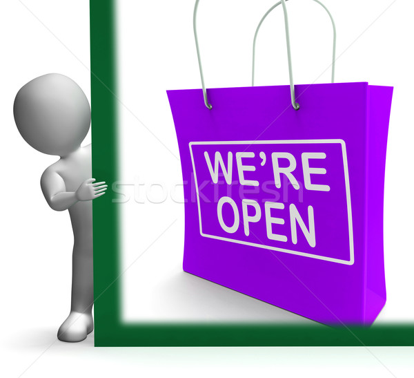 We're Open Shopping Bag Sign Shows New Store Launch Stock photo © stuartmiles