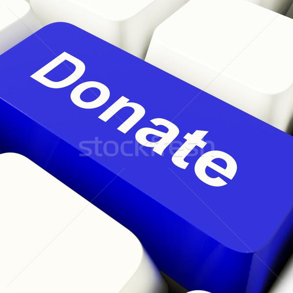 Darować komputera kluczowych niebieski dobroczynność Zdjęcia stock © stuartmiles