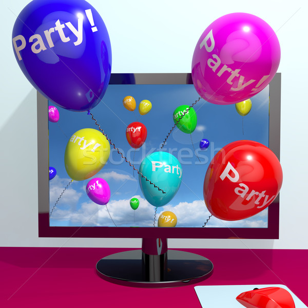 Balloons With Party Text Showing Invitation Sent Online Stock photo © stuartmiles