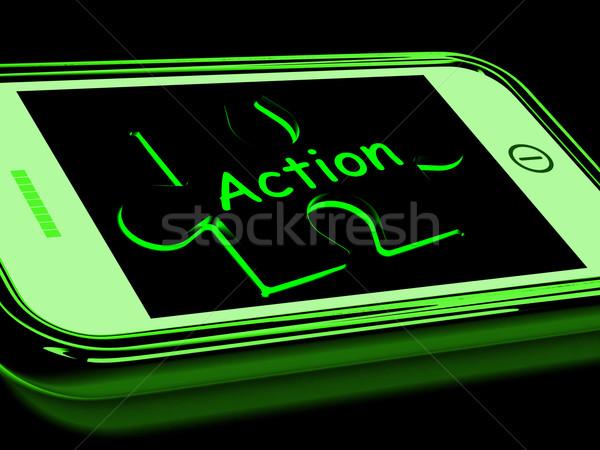 Acción proactivo motivación teléfono celular teléfono Foto stock © stuartmiles