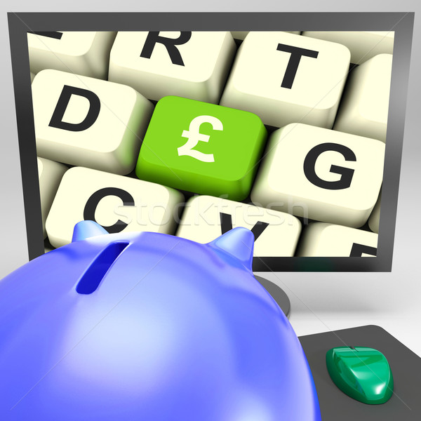 Pound Key On Monitor Showing Britain Prosperity Stock photo © stuartmiles
